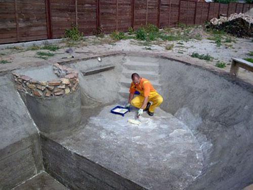 Betonovy bazen postup